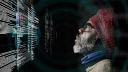 Man looks at data